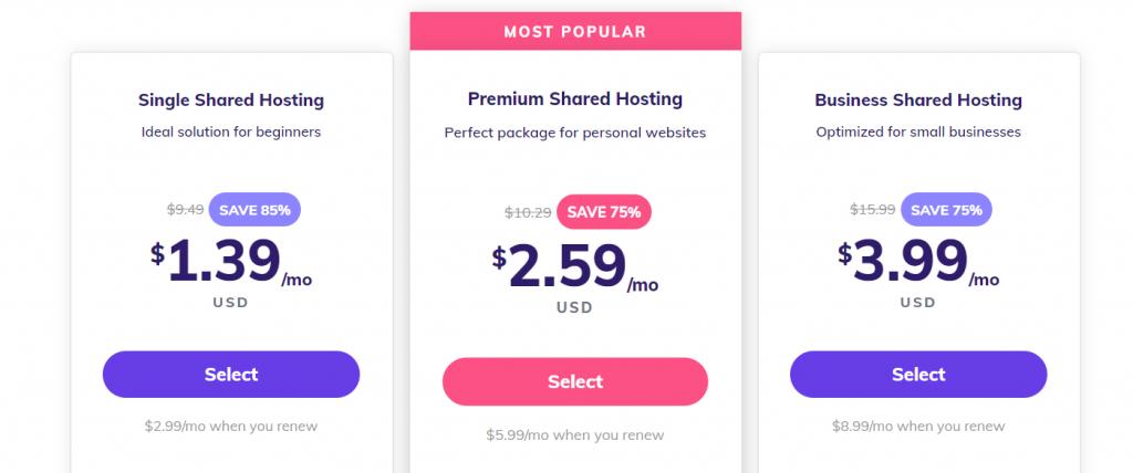 pricings of hostinger